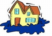 Clip art picture of house in a flood