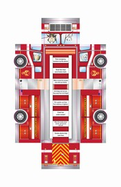 Picture of fire truck fold out sheet with activities